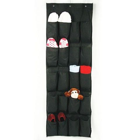 Onyx Black Long Door & Wall Hanging 20 Storage Pockets